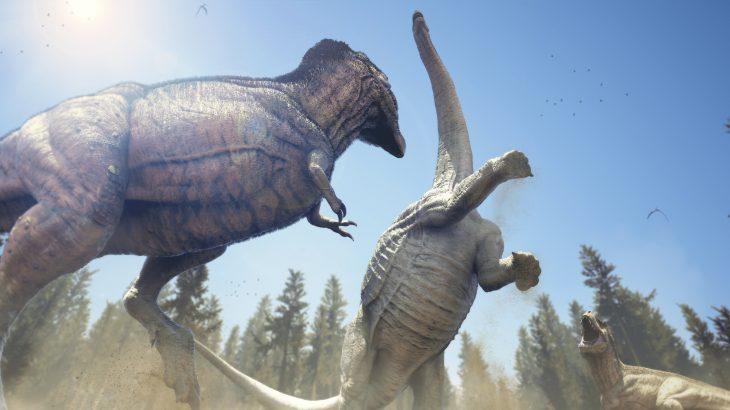 Тираннозавр против аламозавра.